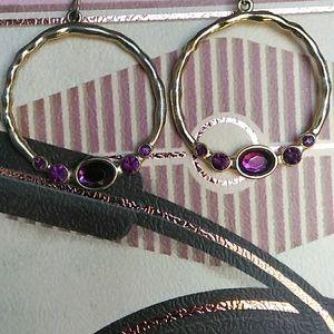 Vintage Purple Rhinestone Hoop Earrings